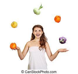 beau, jeune femme, jonglerie