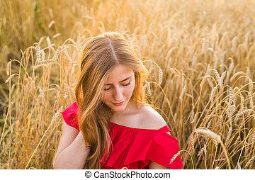 beau, jeune femme, outdoors., jouir de, nature., girl, dans, les, champ