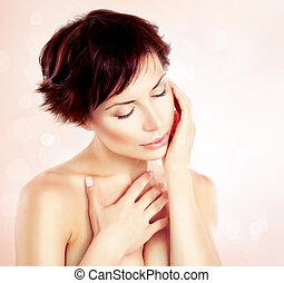 beau, jeune femme, toucher, elle, face., skincare