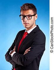 beau, jeune, homme affaires