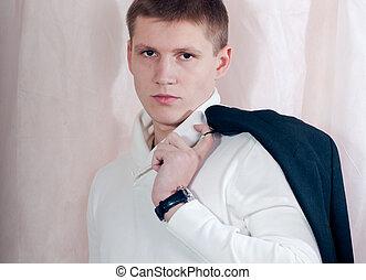 beau, jeune homme, studio, portrait