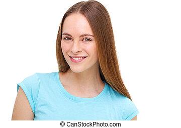 beau, jeune, isolé, white., portrait, modèle