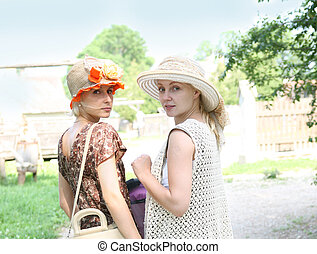 beau, jeunes femmes, dans, retro, stile