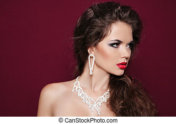 beau, jewelry., diamant, photo, femme, brunette, portrait, mode