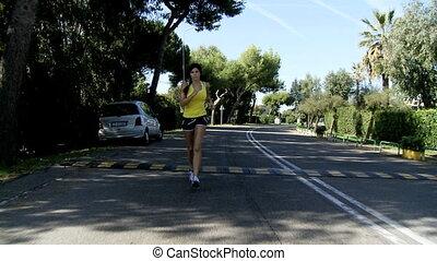 beau, joggeur, courant, femme
