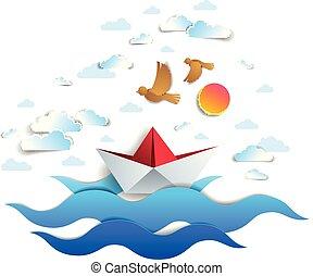 beau, jouet, nuages, illustration., scénique, plié, flotter, océan, papier, vecteur, mer, marine, origami, bateau, natation, vagues, oiseaux, bateau, ciel
