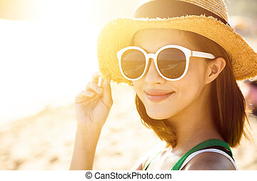beau, jouir de, femme, été, jeune, vacances, plage