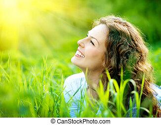 beau, jouir de, femme, nature, jeune, outdoors.