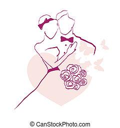 beau, jour, mariage