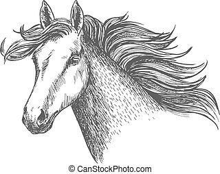 beau, jument, cheval, librement, courant, blanc