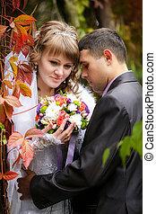 beau, juste, couple, mariés, automne, fond, feuilles, rouges