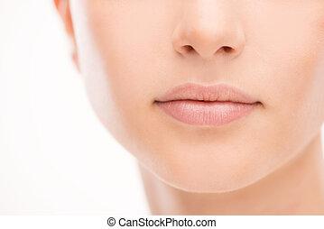 beau, lèvres, femme, gros plan