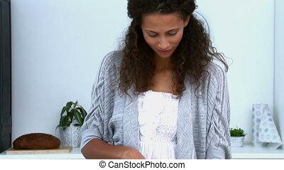 beau, légumes, cuisine, femme