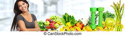 beau, légumes, femme, asiatique, fruits.