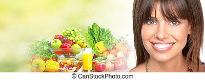beau, légumes, femme, fruits