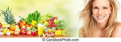 beau, légumes, femme