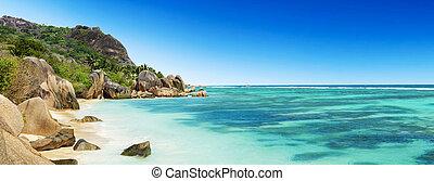 beau, la, seychelles, plage, digue