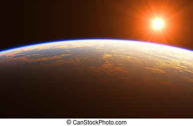 beau, la terre, sur, levers de soleil
