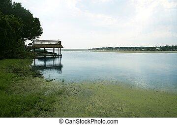 beau, lac, paysage, horizontal, vue, dans, texas, nature