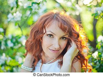 beau, lady., femme, romantique, beauté, arbres., nature., fleurir, flowers., fantasme, verger, extérieur, printemps, portrait, girl, apprécier, mode, sensuelles
