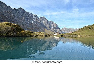 beau, lake., suisse, alpin
