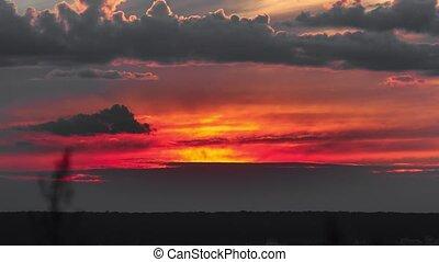 beau, lapses., temps, sur, horizon., coucher soleil, coloré
