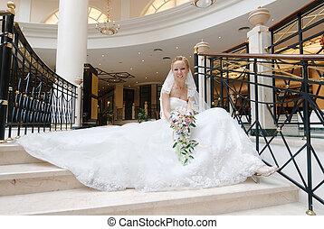 beau, large, assied, escalier, spirale, mariée, mariage, ...