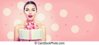 beau, large, mode, angle, girl, isolé, anniversaire, arrière-plan., rose, tenue, gâteau, fête, modèle, ou