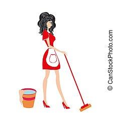 beau, lavette, femme foyer