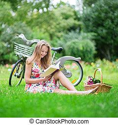 beau, lecture fille, parc