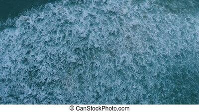 beau, lent, aérien, mouvement, rivage, bourdon, vidéo, mer, ...