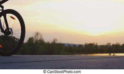 beau, lent, cyclisme, motion., lac, bycycle, route, pendant, coucher soleil, 1920x1080, homme