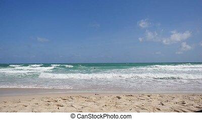 beau, lent, motion., exotique, mer, plage