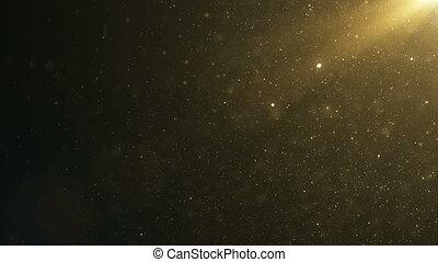 beau, lent, or, flamme, motion., dynamique, bokeh., air, particules, fait boucle, noir, 4k, fond, 3840x2160, poussière, vent, flotter, ultra, animation, hd, 3d