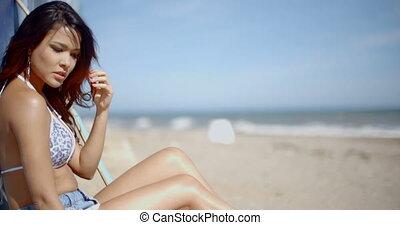 beau, lent, séance, mouvement, girl, plage