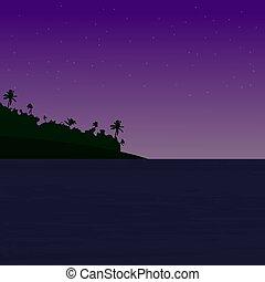 beau, levers de soleil, océan, coucher soleil, 10, vecteur, -, arbre., paume, eps