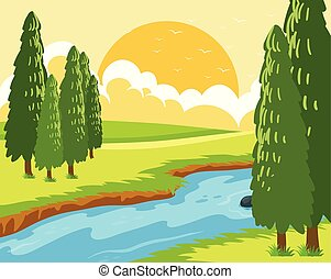 beau, levers de soleil, paysage
