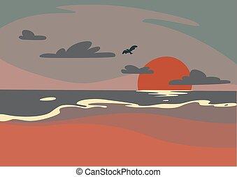 beau, levers de soleil, pourpre, oiseau, plage, matin