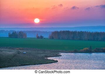 beau, levers de soleil, sur, a, lac