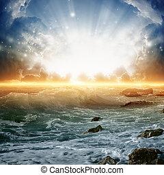 beau, levers de soleil, sur, mer