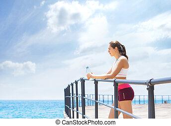 beau, lifestyle., sportif, sain, outdoor., sports, gymnase, fitness, girl