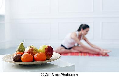 beau, lifestyle., yoga, pendant, girl, exercice
