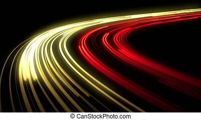 beau, lights., autoroute, vue