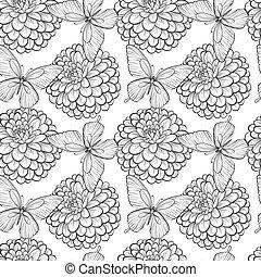 beau, lignes, strokes., dahlias., seamless, papillons, arrière-plan noir, monochrome, blanc, contour, hand-drawn