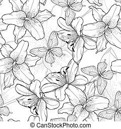 beau, lis, butterflies., seamless, hand-drawn, lines., arrière-plan noir, blanc, contour, monochrome