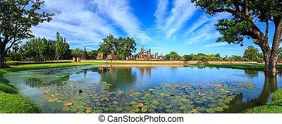 beau, localisé, pelouses, parc, lacs, arbres, temps, north-central, monture, historique, sukhothai, thaïlande, jour, province.