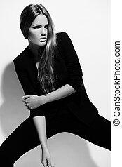 beau, look.glamor, mode, jeune, élevé, tissu, femme, noir, sexy, portrait, élégant, modèle, caucasien