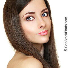 beau, looking., maquillage, clair, femme, closeup, portrait