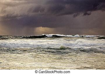 beau, lumière, mer, pleuvoir orage