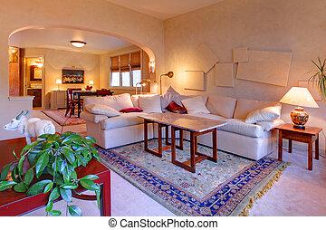 beau, lumière, salle de séjour, conception